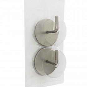 Supports adhésifs ronds pour tringle à rideaux, nickel brossé - Habillage de la fenêtre