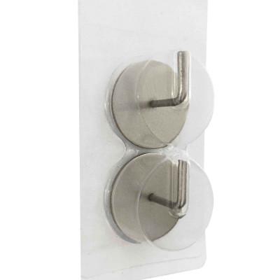 Supports adhésifs ronds pour tringle à rideaux, nickel brossé