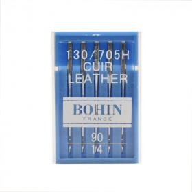 Aiguilles cuir talon plat x5 BOHIN pour machine à coudre - Mercerie