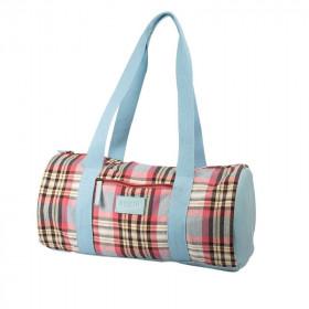 Sac de couture tricot tartan bleu et rose, Bohin - Mercerie