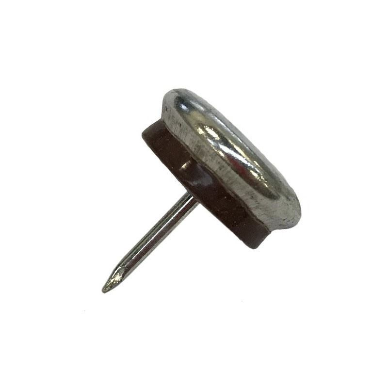 Patin glisseur acier nickelé 1 pointe 15mm - Par 100 - Fournitures tapissier