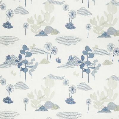 Tissu Nobilis Collection Botanica Fico d'india - Bleu turquin - 130 cm