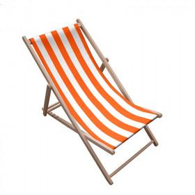 Toile transat - Rayures Blanc/Orange - 43 cm - Tissus ameublement