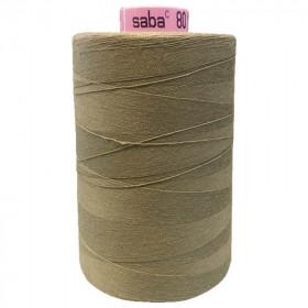 Bobine de fil SABA N°80 - Marron très clair 268 - 5000ml - Mercerie