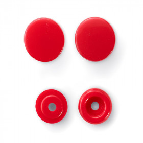 Boutons pression sans couture, rouge, 12,4mm