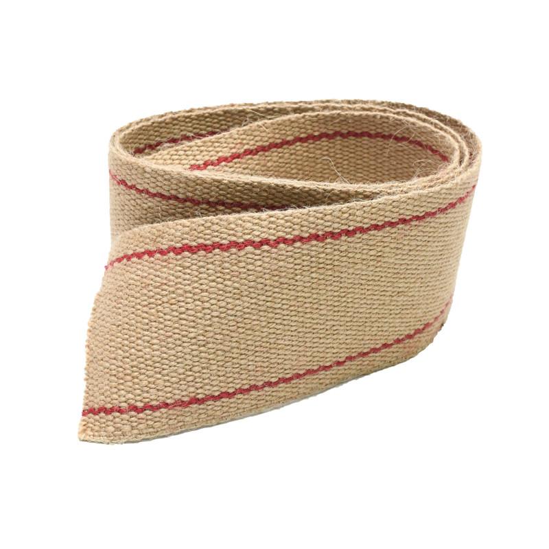 Sangle Jute Ecru & Rouge 85 mm - les 5 mètres - Fournitures tapissier