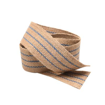 Sangle jute 60 mm à rayures bleues, le mètre - Fournitures tapissier