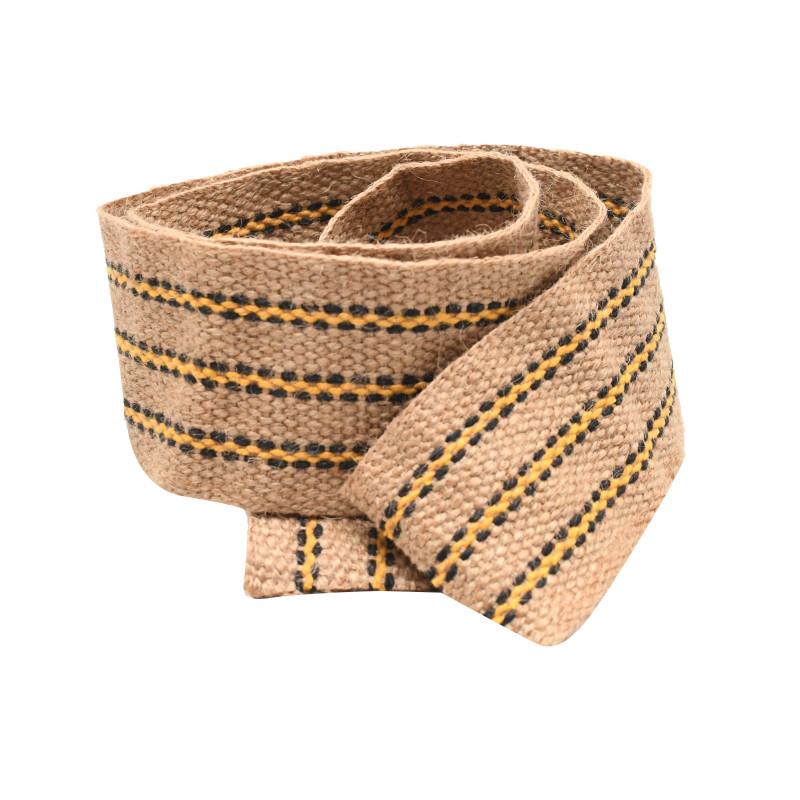 Sangle jute 70 mm à rayures jaunes, le mètre - Fournitures tapissier
