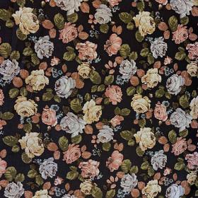Tissu à fleurs - Noir - 133 cm - Tissus ameublement